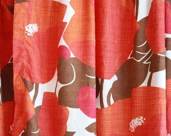 Pair of 1960's Red Poppy Field Print Curtains // Two Panels