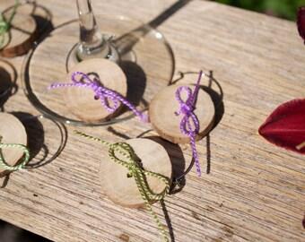 Handmade Wooden Button Stemware Charms