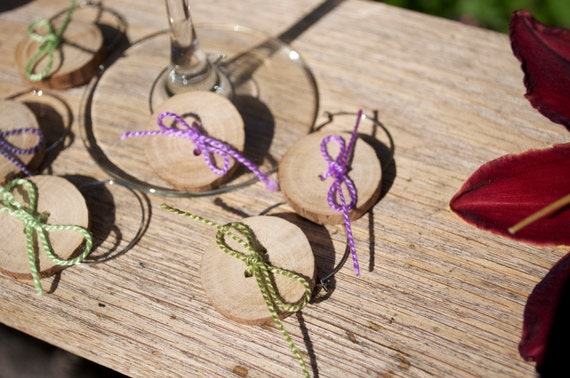 50 Handmade Wooden Button Stemware Charms