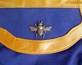 SALE Vintage Canvas and Leather Handbag BEE Symbol Locket