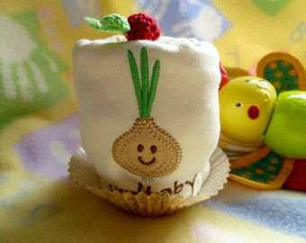 Onion Applique Baby Onesie..Cry Baby Onesie..100% Organic Cotton Bodysuit...Baby Shower..Baby Gift...Onesie Cupcake :)