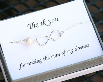 Thank you For Raising the Man of My Dreams card with infinity bracelet,Mother in law,Gift for mother of groom,Rose gold infinity bracelet