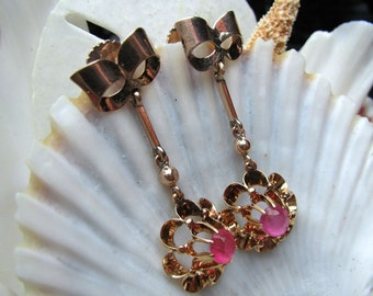 18k and 10k Dangle Earrings Buttercup Setting Bow and Flower Motif 1900's