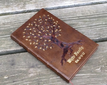 SOLD example only Tree of Life Leather Journal, hand dyed brown
