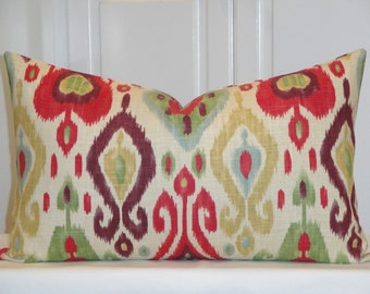 BOTH SIDES - 14 x 24 - Decorative Pillow Cover - Red - Green - Plum - Blue - IKAT