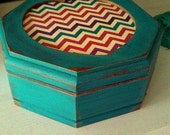Small Vintage Upcycled Octagonal Jewelry Box in Laguna Blue/Turquoise with Chevron Paper and Pink Interior - Jewelry Storage - Shabby Chic