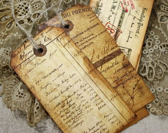 Vintage Style Tag Set French Ephemera Gift or Journaling Hangtags Aged Distressed Tags Set of 6
