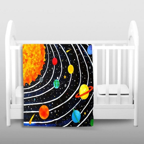 fleece blanket solar system 5 nursery decor kids by njoyart