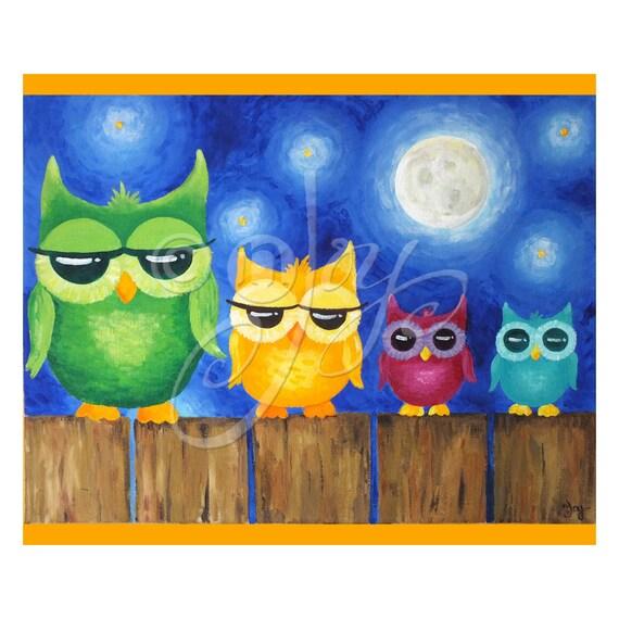 Owl Nursery Art, Owls On A Fence, 20x16 Art Print, Art for Kids, Children's decor