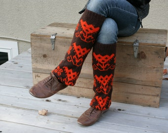 Upcycled Recycled Repurposed Sweater Leg Warmers Boot Cuffs Chocolate Brown Orange Fall Winter Fashion Tribal Geometric