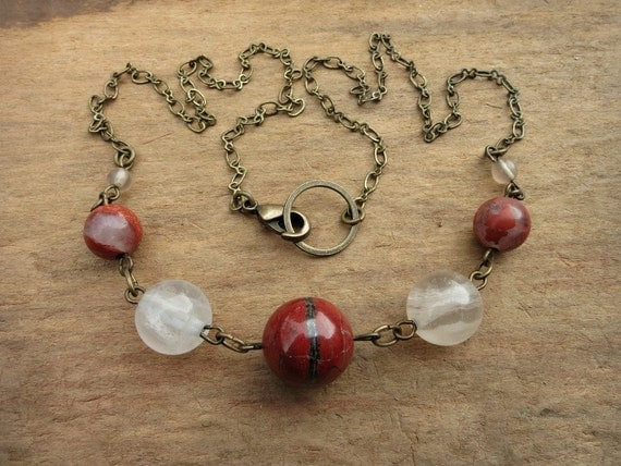 RESERVED LISTING for LELOSE... Red Jasper Necklace, red and white stone necklace with flame jasper, white fluorite, and antiqued brass