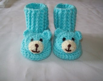 Hand Crochet Baby Boy Infant TEDDY BEAR Booties