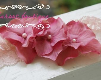 baby headband, newborn headband, small flower headband, dusty rose headband, pink headband, rose headband