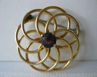 Vintage Round Goldtone Brooch with Purple Stone