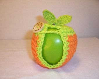 Handmade Crocheted Apple Cozy - Crochet Apple Cozy in Orange Color with Lime Trim