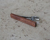 Mahogany Wood Tie Clip, Natural wood Tie Bar, Great 5th Anniversary Gift, Wedding - 239