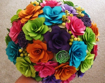 Wedding Paper Flower Bouquet Bright Colors Assorted Flowers,,made to your liking   7 to 8 inch