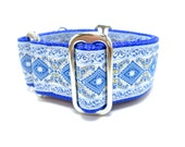 """Houndstown 1.5"""" Blue Diamonds Unlined Buckle or Martingale Collar, Any Size"""