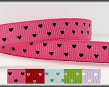 "Hot Pink 3/8"" Grosgrain Ribbon with Black Swiss Hearts - 5 yards - other colors available"