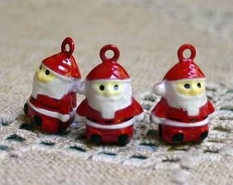 3pcs Jingle Bell Santa Claus Charms Brass Enamel 20mm Christmas Decor