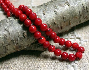 80pcs 5mm Red Dyed Bamboo Coral Natural Gemstone Beads Round Corals 16 Inches Strand