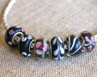 6pcs Bead Dione Large Hole Lampworked Black Multicolored 12x8mm-16x9mm Rondelle
