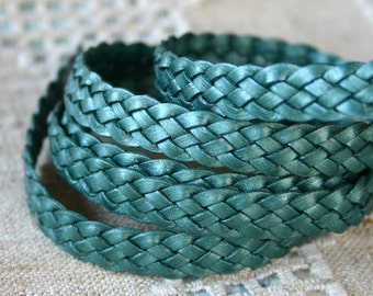 1 Meter 10mm Flat Braided Leather Cord Metallic Ocean Green 5 Strands Wholesale Leather Cord
