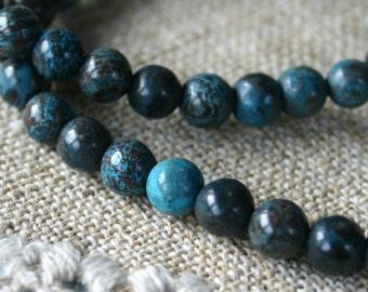 50pcs 8mm Blue Sky Jasper Natural Gemstone Beads Round 16 Inches Strand