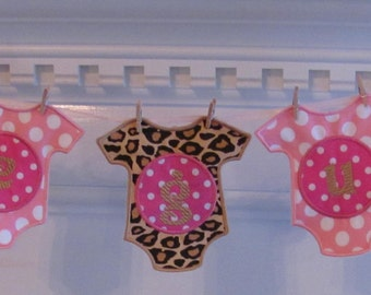 Baby Girl Fabric Banner In Pink Polka Dots And Leopard Print For Baby  Shower Decoration And