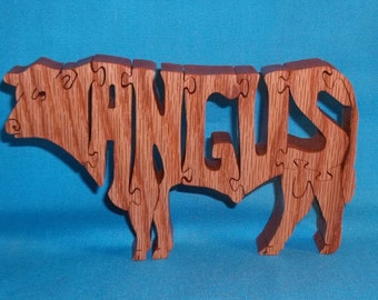 Angus Bull Scroll Saw Wooden Puzzle
