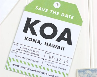 Luggage Tag Save the Date -  Destination Wedding Save the Date - Airplane Letterpress, Foil Stamp, Flat Printing - DEPOSIT