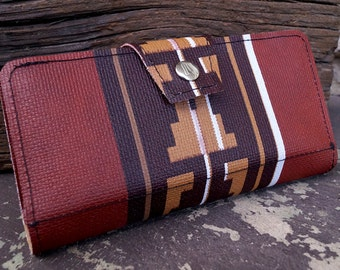Navajo Style Southwestern Womens Upcycled Wallet- Made of '76 Jeep Cherokee Auto Vinyl
