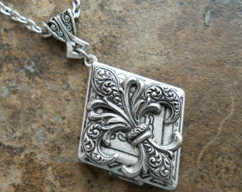Gothic Fleur de Lis Diamond Locket in Antiqued Silver, an ORIGINAL EXCLUSIVE Design Only by Enchanted Lockets