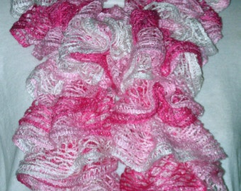 Pretty in Pink Lacy Ruffled Scarf, Ruffled Knitted Scarf, Lacy Layered Ruffled Scarf. Fashion Lacy Scarf