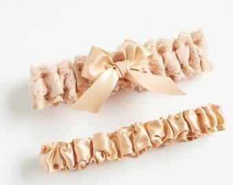 Champagne Bridal Garter, Garter Set Lace, Wedding Garter Set, Gift For Bachelorette, Lace Bride Gift, Boho Wedding, Brides.com, SHIPS FREE