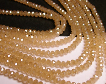 Crystal faceted rondelle - 100 pcs - full strand - 4 mm - A quality - peach beige  - FCRM36
