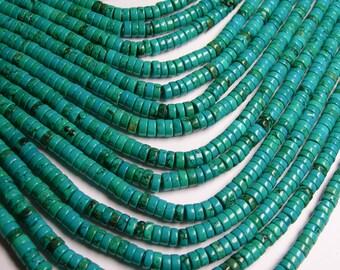 Howlite turquoise -  6mm heishi beads -1  full strand -  135 pcs - AA quality
