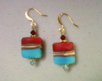 Red and Aqua Earrings (0788)