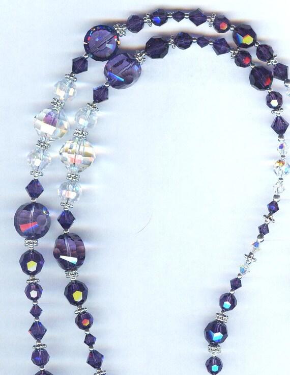 FABULOUS Purple Velvet, Tanzanite and Crystal AB Swarovski Beaded ID Badge Lanyard or Eyeglass Chain