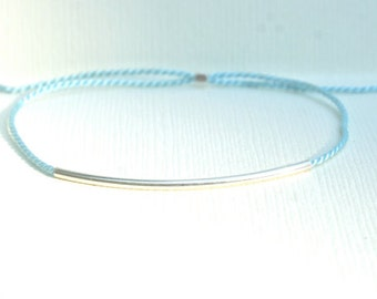 Turquoise blue thread Bracelet with Sterling Silver tube - adjustable