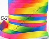 "SALE-5yd-Satin Elastic- Rainbow TieDye- Approx. 5/8"""