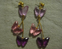 Avon Pink and Purple Butterfly Earrings