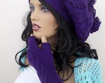 Purple Knitting Hat and gloves-Pon pon hat-Set-fingerless gloves hat set