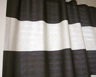 2 Curtains, Drapes, Window Curtains, Set of 2 Curtain Panels in Chocolate and Natural Horizontal Stripe 84 long