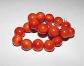 10 Dark Orange Tagua Nut Beads, 12mm Rounds Beads, Organic Beads, Vegetable Ivory Beads, Natural Beads, EcoBeads