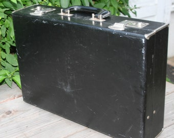 Black Faux-Leather Briefcase with Silver-toned Corner Accents