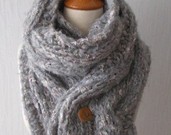 Chunky Scarf Handknit Thick and Warm Cabled Cowl in Light Grey Pink White Green Tones with Alpaca Merino