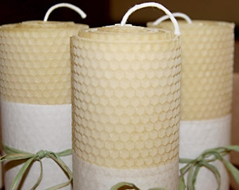 "Pure Beeswax 1 large candle pillar -  8""x2"" with lead free wicks"