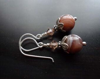 Botswana Agate Earrings, Dangle Earrings, Gemstone Jewelry, Sterling Silver