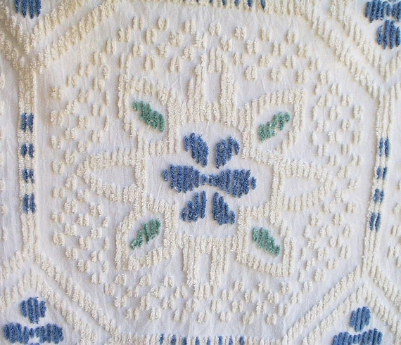 vintage chenille curtains drapes blue white green accents 4